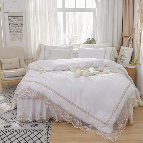 TEALP Ruffle Floral Lace Princess Bridal Duvet Gold 4pcs Cotton Jacquard Bedskirt Flouncing Shabby Pillow Romantic Shams Luxury Cover Soft Victorian Style Bedding Set,White,King
