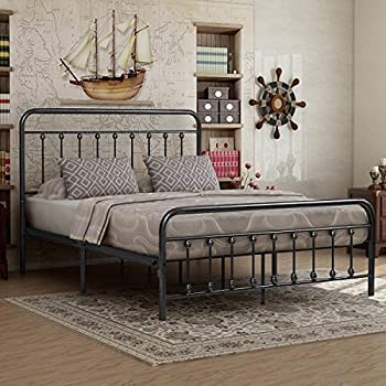 Victorian Vintage Style Platform Metal Bed Frame Foundation Headboard Footboard Heavy Duty Steel Slabs Queen Size Silver/Gray Textured Charcoal Finish  Gray Silver Queen