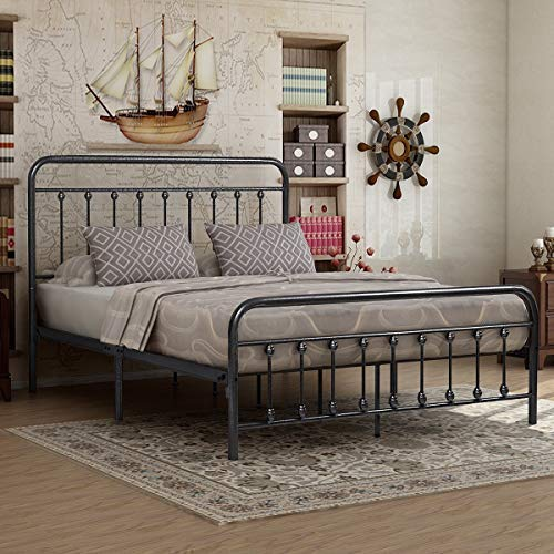 Victorian Vintage Style Platform Metal Bed Frame Foundation Headboard Footboard Heavy Duty Steel Slabs Queen Size Silver/Gray Textured Charcoal Finish (Gray Silver, Queen)