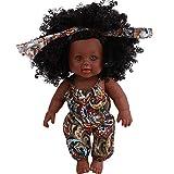 12 Pouces Fille Poupée de Simulation, BZLine Enfant Fausse poupée simulée Poupée Noire Mignon Réaliste Jouet de poupée Africaine Fille Poupée Cadeau (Multicolore)