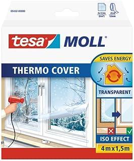 tesamoll Thermo Cover - Cubierta Transparente para el Aislamiento Térmico de Ventanas - Incluye Cinta Adhesiva Doble Cara para una Fácil Instalación - 4 m x 1.5 m