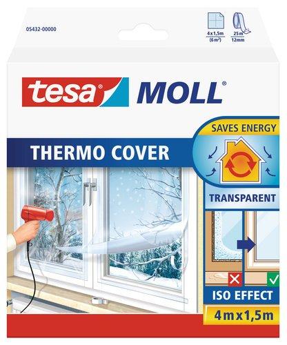 tesamoll Thermo Cover Fenster-Isolierfolie - Transparente Isolierfolie zur Wärmedämmung an Fenstern - Inklusive praktischer Klebelösung - 4 m x 1,5 m