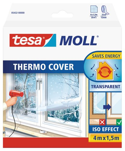 tesamoll Thermo Cover Window Insulating Film - Transparent Insulating Foil for Thermal Insulation of Windows - Includes Double Sided Tape for Easy Installation - 4 m x 1.5 m