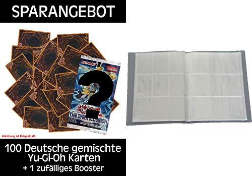 Konami - Yu-Gi-Oh! - Sparangebot - 100 deutsche gemischte Karten + 1 Booster unserer Wahl + Leere Sammelmappe - 18 Seiten (324 Karten) - Ideal für Sammel Bilder/Karten