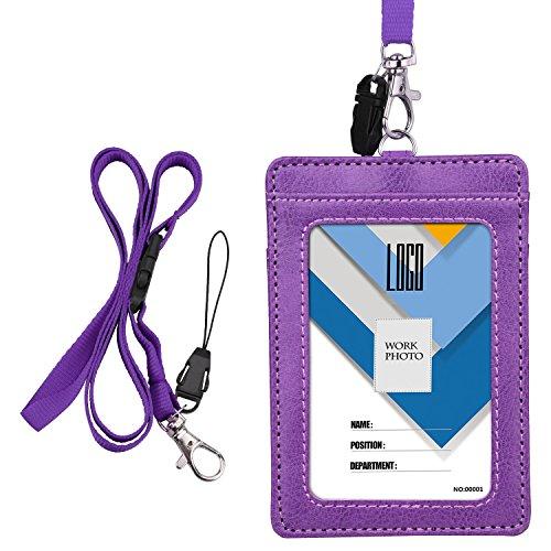 Wisdompro - Soporte para tarjetas de identificación (doble cara, piel sintética, con correa para el cuello, de 58,42 cm), color negro (vertical)., color morado Vertical