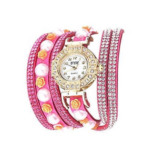 Fenverk Retro Vintage Klee Design Damen Armbanduhr Armreif Uhr Anhänger Spangenuhr Quarzuhren,Mode-Accessoires Retro Weave Wrap Um Leder Armband mit Schlüssel Frauen Quarz Natur Stlye Uhr(Hot Pink#01)