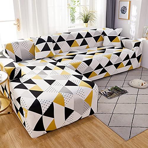 JINGQIAO Funda de sofá elástica para sala de estar ajustable geométricas sofás chaise Covers Lounge seccional sofá esquinero