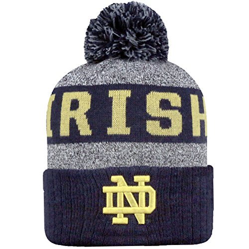 Top of the World NCAA Arctic Striped Cuffed Knit Pom Beanie Hat-Notre Dame Fighting Irish