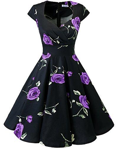 Bbonlinedress Vestido Corto Mujer Retro Años 50 Vintage Escote En Pico Black Purple Brose XS
