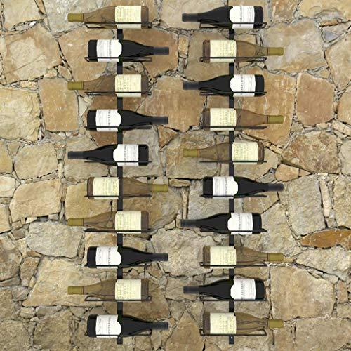 YWYW Moderno y práctico Juego de botellero de 2 Piezas Negro Juego de botellero de Pared Negro Juego de 2 Piezas 27 x 9 x 126 2 cm (Ancho x Profundidad x Alto)