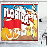 ABAKUHAUS Florida Cortina de Baño, Chica Pin-up y Naranjas, Material Resistente al Agua Durable Esta...
