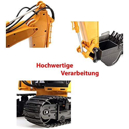 RC Auto kaufen Kettenfahrzeug Bild 6: 16-Kanal RC ferngesteuerter Raupenbagger mit Holgreiferarm 2.4GHz Edition, hochwertige Verarbeitung viele Metallbauteile, 680° Grad Drehfunktion, Licht, Sound, Baustellen-Fahrzeug, Komplett-Set*