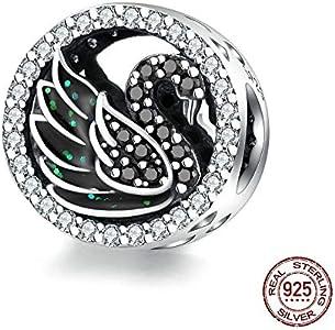MZNSQB Granos Redondos del Cisne Negro para Las Mujeres Que Hacen la joyería de Plata 925 Original Charm Fit Bracelet & Bangle Design Jewelry