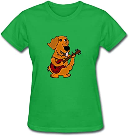 Best Cathdennis grigio moda Golden Retriever Playing Guitar t-shirt, donne