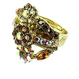 Color de la flor del anillo de cóctel chapado en oro de lujo