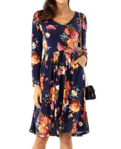 Women's Floral Long Sleeve Casual T Shirt Dress $9.99 (50% Off at checkout)
