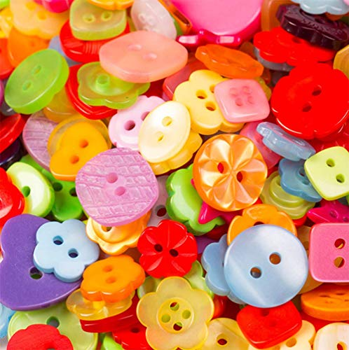 AKOAK 1 Bottle (Approx. 400Pcs) Handmade Candy-Colored Children's Clothing Buttons