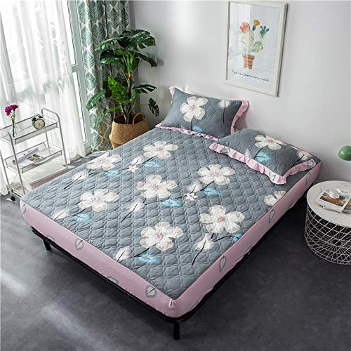 lhmlyl Bed Sheets Double Fittedthickened Quilted Non-Slip Mattress Protector Solid Color Bed Lily To Keep Warm In Winter-Happiness Man Dance Single Quilted Bed_1.5 * 2.0