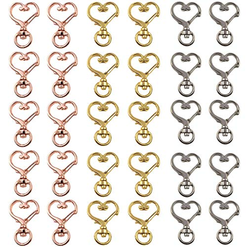 Llavero Giratorio Corazón Metal Clip De Llavero Corazón Mosquetón De Corazón Cierre De Gancho De Llavero De Aleación De Zinc Llavero Con Pequeño Gancho Giratorio Para Creación Llavero Bolsa 30 Piezas