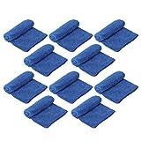 Toalla de limpieza azul de 10 piezas, paños de limpieza versátiles Toalla de limpieza de automóviles Toalla de secado de microfibra suave cuadrada Toalla de mano Toalla de mano Suministros de limpieza