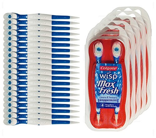 Colgate Wisp - Wisp Toothbrush - Camping Toothbrush - Mini Toothbrush - No Water Needed - Guaranteed Freshness. Great for Camping, Traveling. Each Pack Is Small, Compact and Contains 4 Disposable Toothbrushes. Clean Teeth and Fresh Breath - 5 Packs