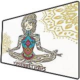 Tappetino per mouse da gioco [600x300 x 3 mm],Chakra Decor, Ragazza in posizione yoga con figure etniche sul suo corpo Motivo di convinzione della Base antiscivolo 45x45cm