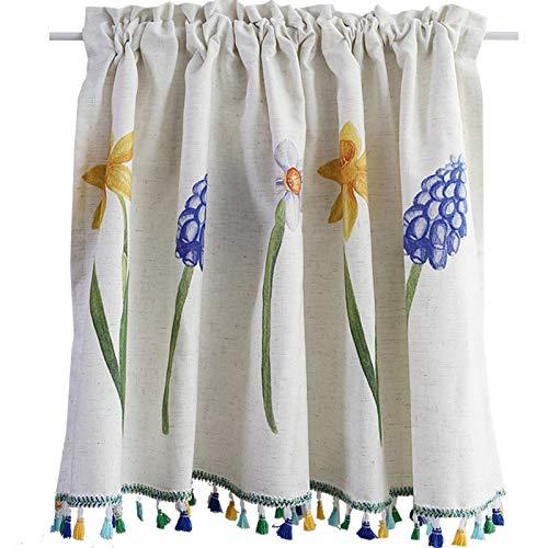 无 Cafe Kitchen Curtains, Small Window Curtain, Short Curtains Half Window Curtains Tier Curtains, Decoration Handmade for Bathroom, Living Room, 55'*31'