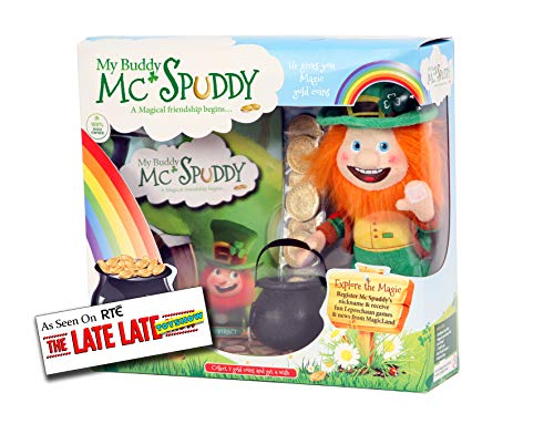 My Buddy McSpuddy St. Patricks Story Book - Saint Patrick Day Presents for Kids - Irish Leprechaun Toy with Gold Coins