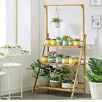 Bamboo 3-Tier Hanging Plant Stand Planter Shelv...