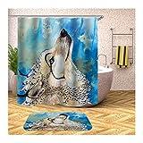 AmDxD Duschvorhang Badezimmerteppiche Set aus Polyester  3D-Druck Weiß Wolf Muster Design Badewanne Vorhang Duschvorleger   Bunt   mit 12 Duschvorhangringen für Badewanne Badezimmer - 120x180CM