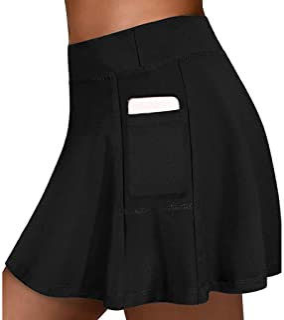 Kunyuz Women's Tennis Skirts Run yoga Shorts Elastic Sports Golf Pockets Hakama