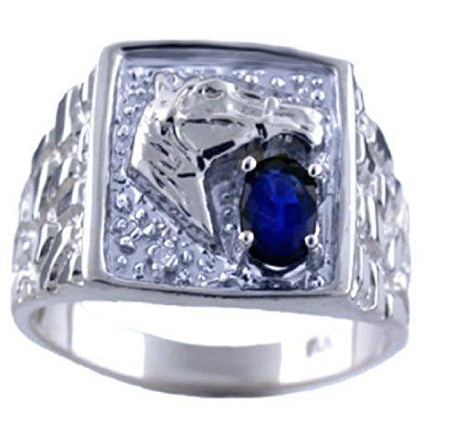 Para hombre Sapphire & Diamond Anillo Banda Oro Blanco De 14K Anillo De Caballo suerte cabeza de caballo