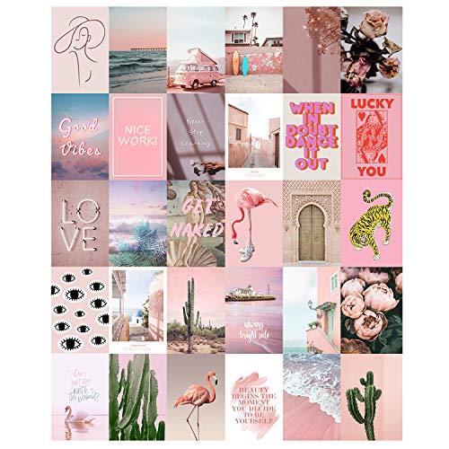 Aesthetic VSCO Wand-Collage-Set, 30-teiliges Set, 10,2 x 15,2 cm, Raumdekoration für Teenager-Mädchen, hübsches Blush Pink Wandkunstdruck, Schlafsaal-Foto-Kollektion, kleine Poster für Zimmer Ästhetik