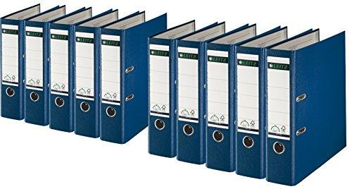 Leitz 1010-50 Qualitäts-Ordner Plastik-Cover (A4 breit | 10er Pack, blau)
