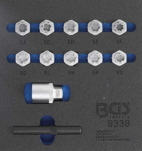 BGS 9338   Werkstattwageneinlage 1/6: Felgenschloss-Werkzeug-Satz für Mercedes-Benz   12-tlg.