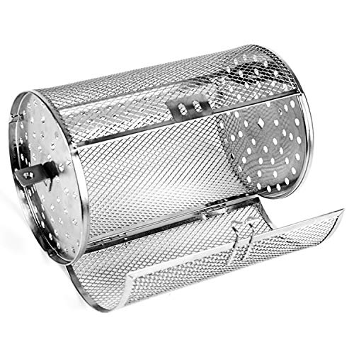lasdolod Rotisserie Grill Basket, Stainless Steel Grilling Basket 12X23cm Rotisserie Basket Roaster Oven Rack Basket Rotary Grill Baskets for Baking Nuts Coffee Beans Peanut Outdoor Grill BBQ