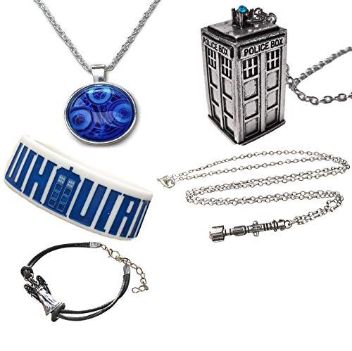 Orion Creations Dr Who Geschenkverpackung. Halskette, Sonic Screwdriver, Armbands und Brosche. Geschenkbox