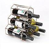 LOKIH Botellero Apilable Horizontal para Botellas De Vino, Soporte para Botellas De Vino De Metal, Soporte De Almacenamiento Libre Puede Contener 6 Botellas De Vino