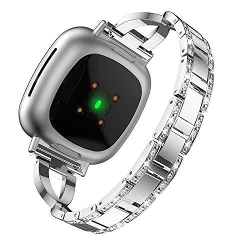 XIALEY Pulseras De Repuesto Compatible con Fitbit Versa 3 / Sense, Accesorios De Correa De Metal para Mujer Banda De Diamantes De Imitación Brillante Pulsera Deportiva De Acero Inoxidable,Plata
