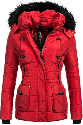 Marikoo Damen Winter Jacke Steppjacke Vanilla Rot Gr. XXL