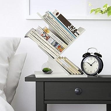 WSTECHCO Wood Desktop Storage Organizer Display Shelf Rack, Countertop White Bookcase Desktop Organizer/Bookshelf/Supply Storage Rack