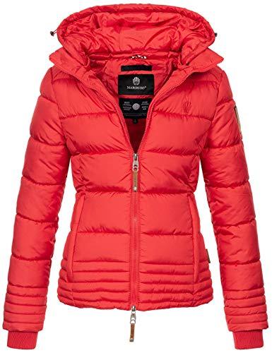 Marikoo Designer Damen Winter Jacke Steppjacke Winterjacke Stepp gesteppt B668 [B668-Sol-Rot-Gr.L]