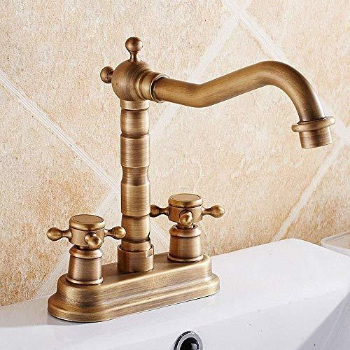 WYZXR Grifos de lavabo Retro Cobre cepillado 360 Grúa de Baños Rotación Grúa Torneira Cubierta Montada Doble Manija Mezclador Grifos YD-501