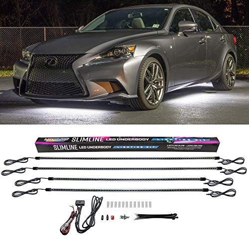 LEDGlow 4pc White Slimline LED Underbody Underglow Accent Neon Lighting Kit for Cars - Solid Color Illumination - Water Resistant, Low Profile Tubes - Included Power Switch Turns Lights On & Off