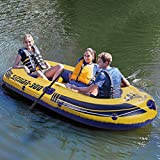 Inflatable Kayak Set - 3-4 Person Inflatable Boat Rafts Dinghy Boat with Oars
