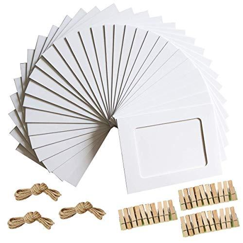Hello-Union Fotorahmen 4x6 Kraftpapier Bilderrahmen 30 STÜCKE DIY Fotorahmen aus Pappe mit Holzklammern und Juteschnur (Weiß)