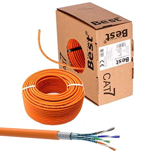 SatShop-Ft 100m CAT 7 Verlegekabel Netzwerkkabel CAT.7 LAN Halogenfrei Installationskabel CAT7 Kabel Netzwerk Verkabelung Datenkabel Gigabit Kupfer Ethernet (100m Abrollbox, Cat 7)