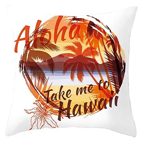 KnBoB Funda de Almohada Poliéster Take Me To Hawaii Árbol de Coco Blanco Naranja 40 x 40 cm Estilo 7