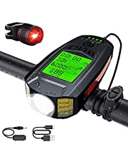 Bicycle Light Super Bright Bicycle Front Light USB Rechargeable Bike Headlight with Bike Speedometer Odometer Calorie Counter Fits All Mountain & Road Bike