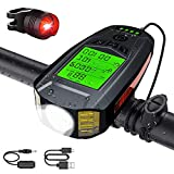 Bike Light Set, Super Bright Front Headlight and Rear Light USB Rechargeable Bike Light Multifunctional Bicycle Light with Speedometer Odometer Thermometer Calorie Calculator